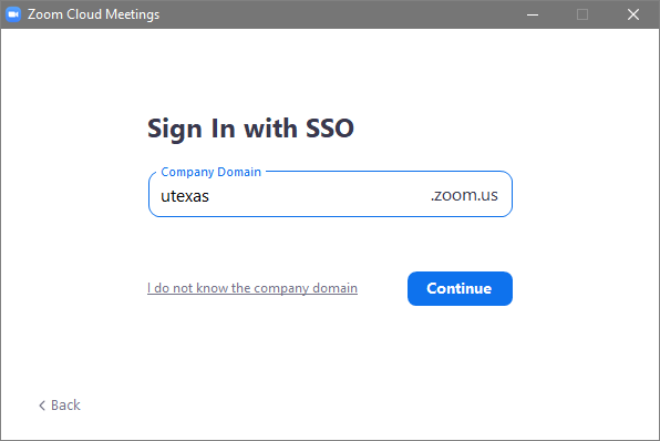 Zoom SSO Domain