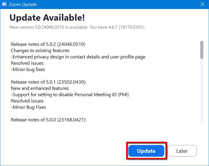 Update Zoom 5.0